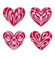 tribal hearts tattoo set vector image