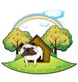 A dog inside a doghouse vector image