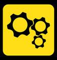 yellow black sign - three cogwheel icon vector image