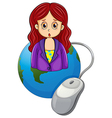 A globe with a woman wearing a violet blazer vector image vector image