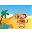 Happy kids riding camel vector image