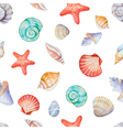 Watercolor seamless pattern with sea shells vector image