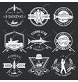 Fishing White Emblems On Black Background vector image