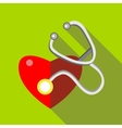 Red heart and stethoscope icon flat style vector image