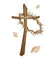 A Wooden Cross and A Crown of Thorns vector image
