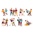 collection of fighting children conflicts between vector image