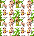 Seamless monkeys and coconut trees vector image