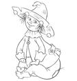 Scarecrow wizard of oz outlined vector