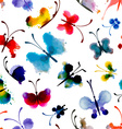 Seamless pattern of butterflies from watercolor vector image