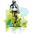 bicycle rider on abstract background vector image