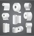 realistic toilet paper roll mock up set isolated vector image
