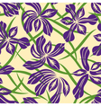 Seamless purple flower pattern vector image