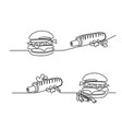 set continuous big hamburger with french fries vector image