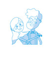 silhouette happy couple together and romantic vector image