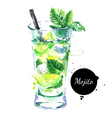 Hand drawn sketch watercolor cocktail Mojito vector image vector image