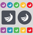 banana icon sign A set of 12 colored buttons Flat vector image