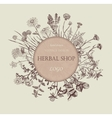 Herbal shop logo Hand drawn design vector image