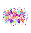 print with stylized summer objects abstract vector image vector image