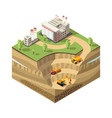 colorful isometric diamond mining concept vector image