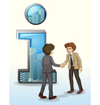 Two businessmen in front of the number one symbol vector image vector image
