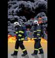 firefighters and big fire vector image