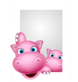 cute couple hippo cartoon vector image vector image