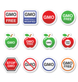 GMO food no GMO or GMO free icons set vector image vector image