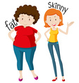 Opposite adjectives with fat and skinny vector image