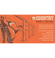 Western country music with cowboy hat and music vector image