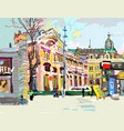 Plein air digital painting of cityscape - kiev vector image
