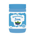 blueberry jam in glass jar made in flat style vector image
