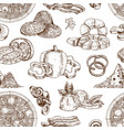drawn pizza ingredients pattern vector image