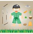 with farmers on the farm cartoon vector image