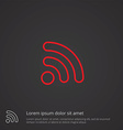 WiFi outline symbol red on dark background logo vector image