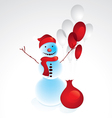 snowman with red balloons vector image vector image