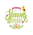 Spring is coming cardLettering flowersbird vector image