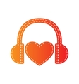 Headphones with heart Orange applique isolated vector image