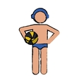 drawing water polo player ball cap vector image