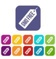 gmo free price tag i icons set flat vector image