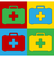 Pop art first aid icons vector image