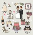 set of cartoon doodle wedding vector image
