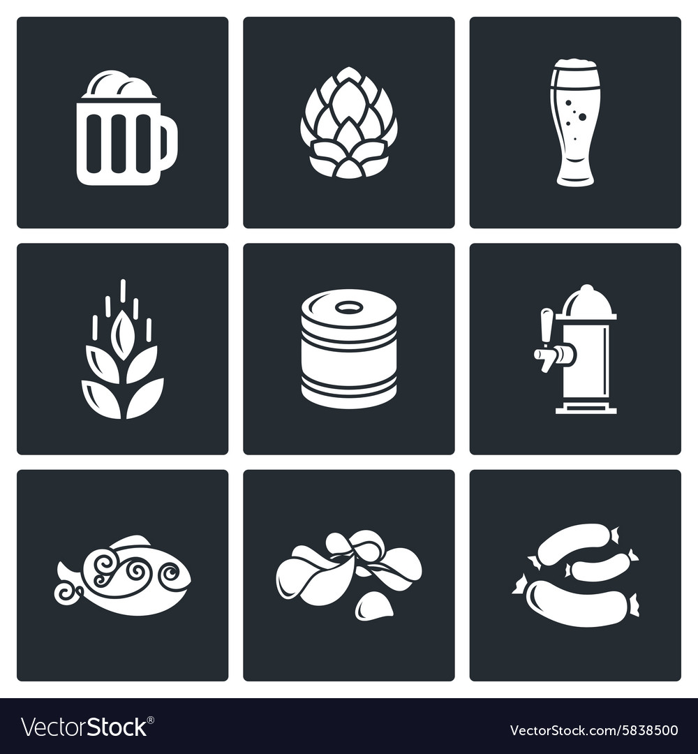 Beer and appetizer icons vector