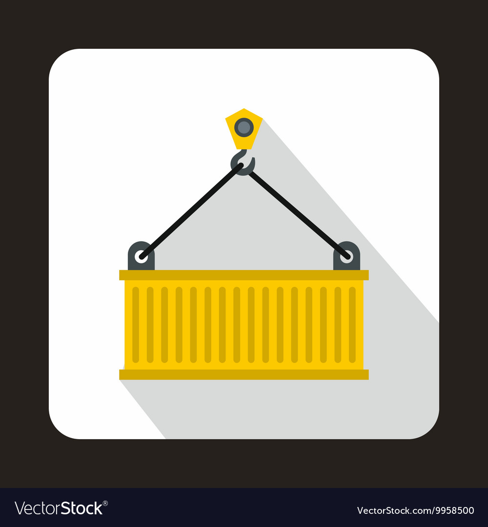 Crane lifts yellow container icon flat style vector
