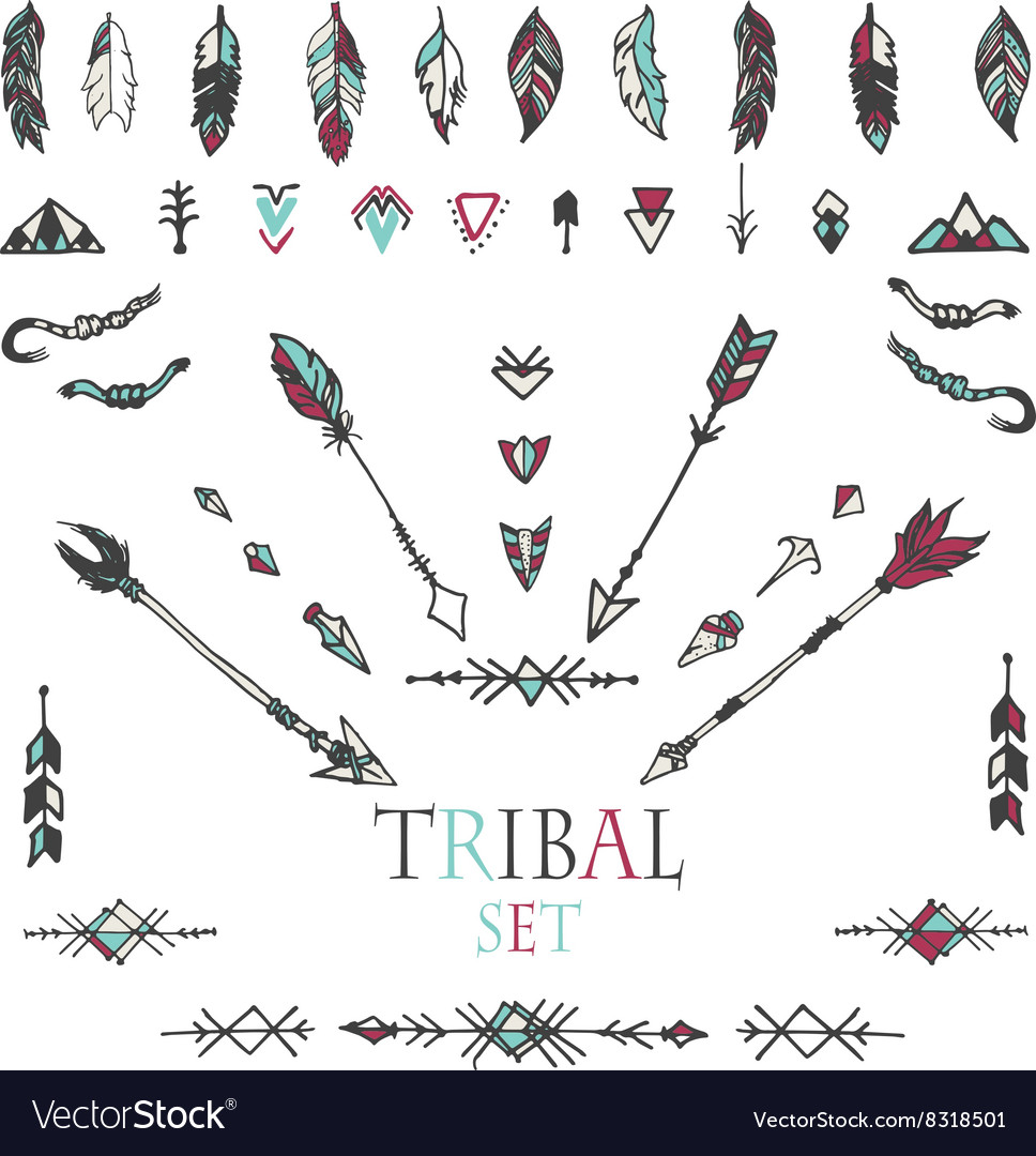 Collection of ethnic decor elements vector