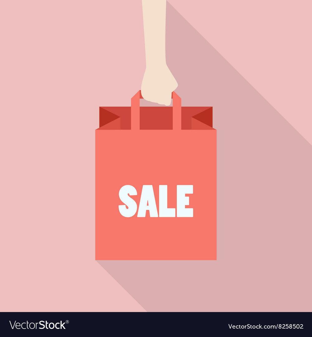 Hand hold shopping bag in flat style vector