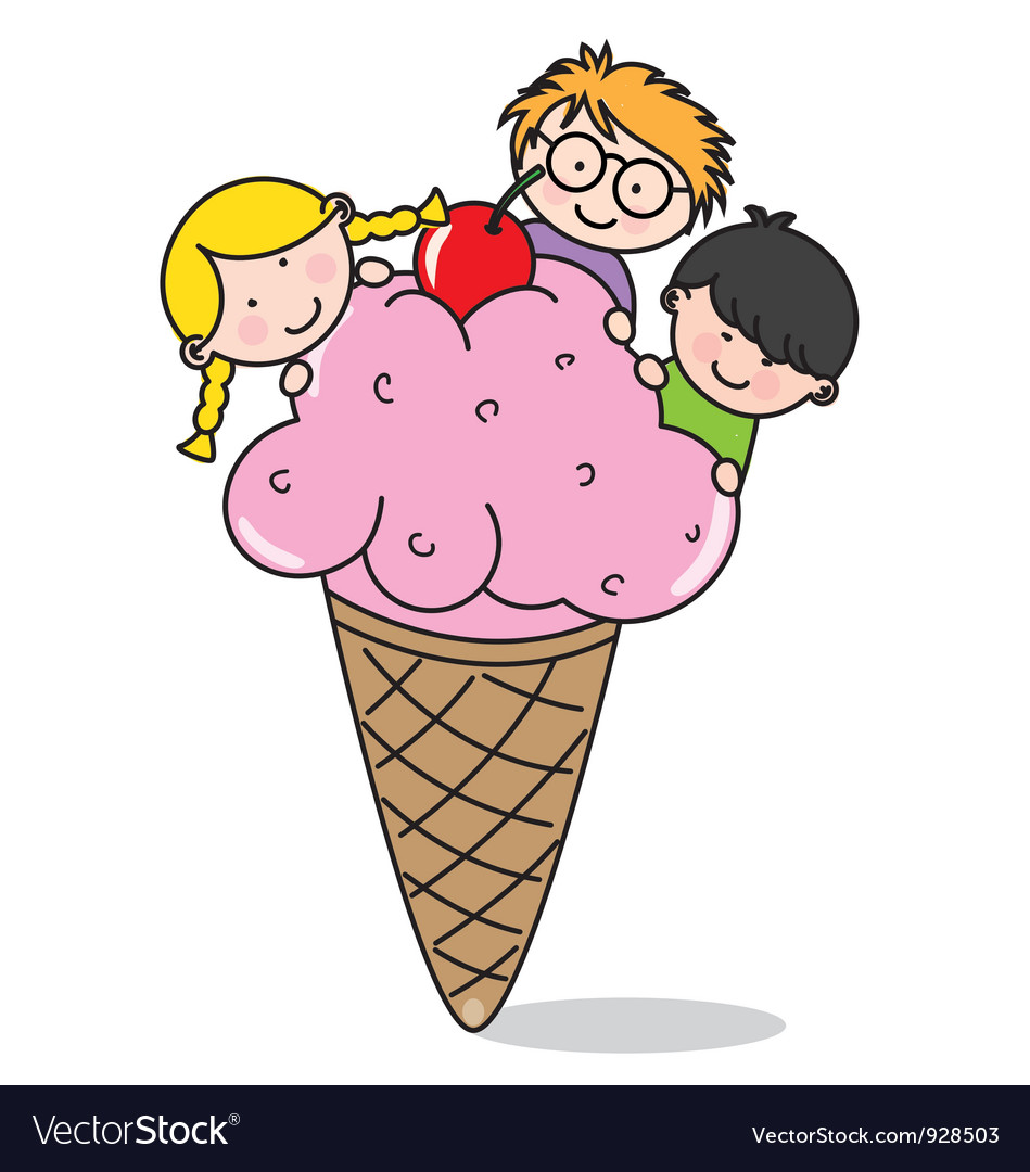 Children eating ice cream vector