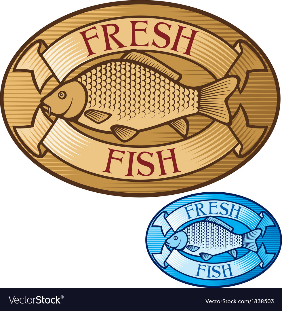 Fresh fish label vector