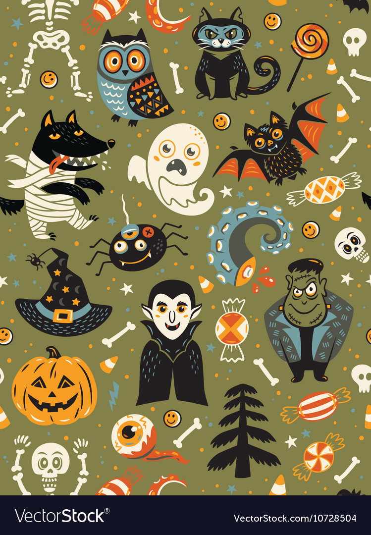 Cute halloween seamless pattern with cartoon vector