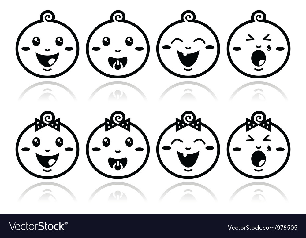 Baby boy baby girl face  crying with soother s vector