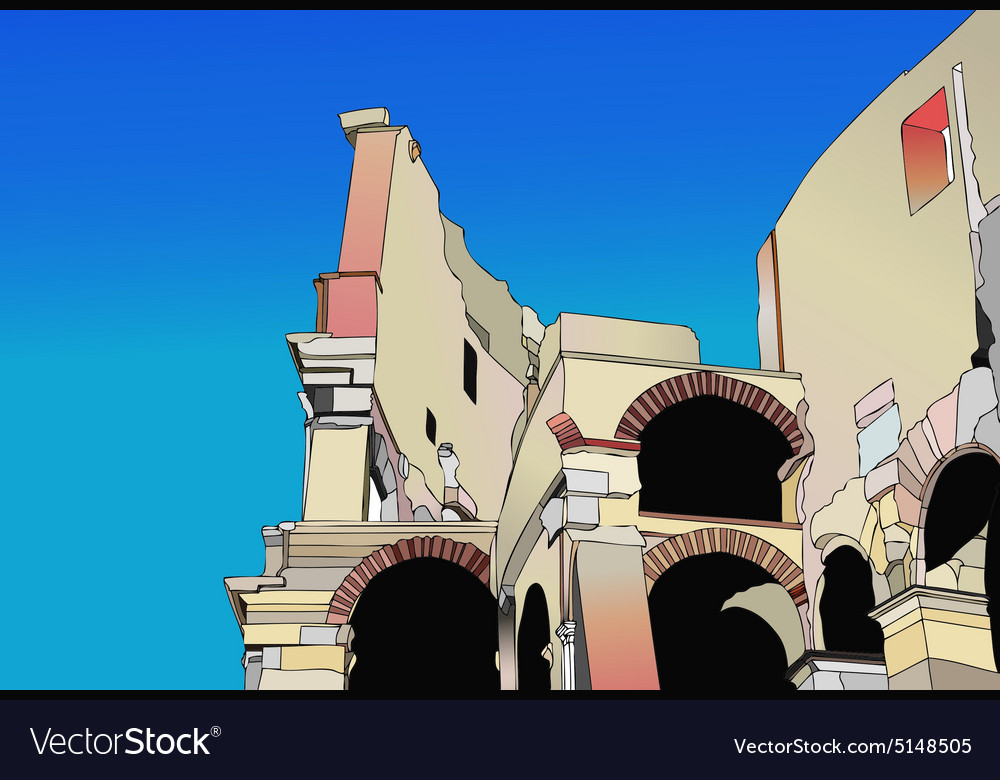Cutaway of the colosseum in rome vector